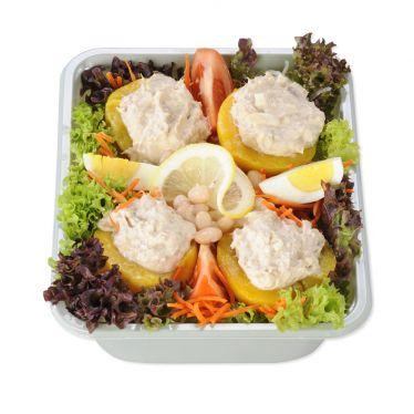 Pfirsich mit Thunfisch/Rohkost