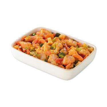 Filet de poulet aux légumes frais.